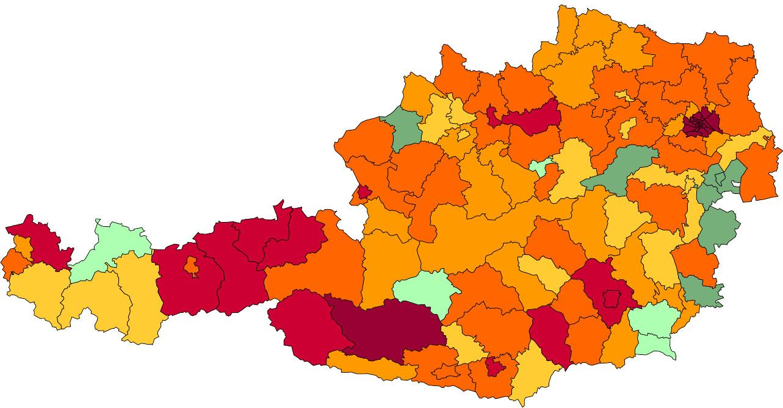 Absolute Verteilungskarten Nachnamen Brunner
