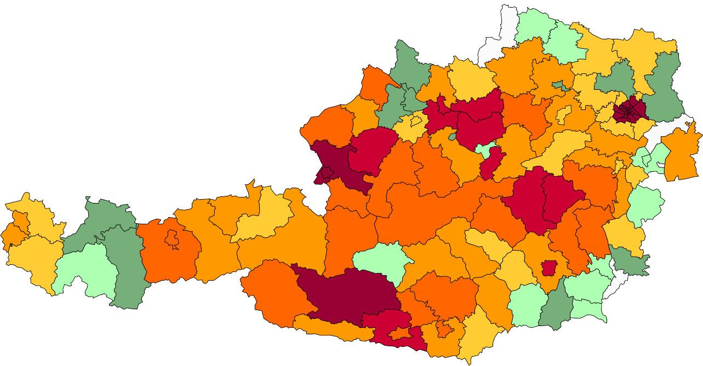 Absolute Verteilungskarten Nachnamen Ebner