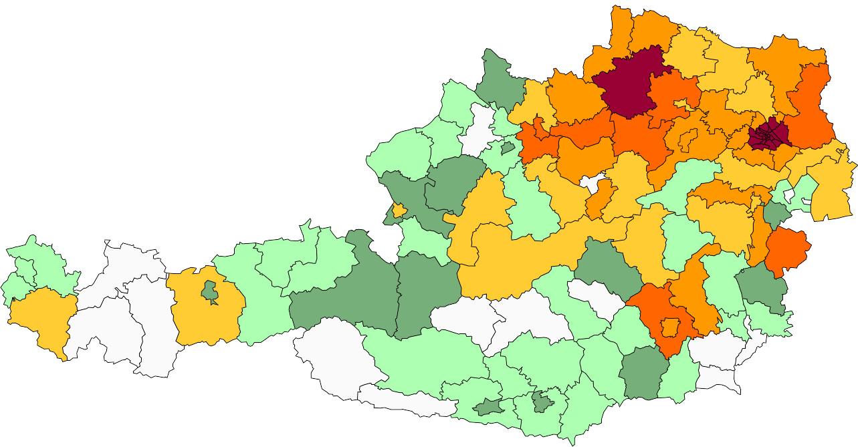 Absolute Verteilungskarten Nachnamen Hahn