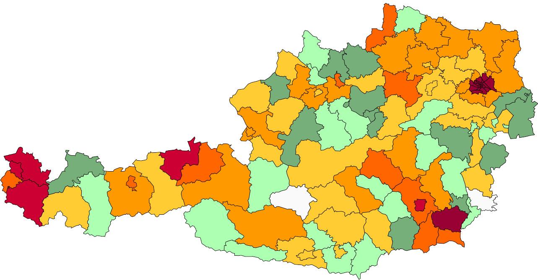 Absolute Verteilungskarten Nachnamen Kaufmann