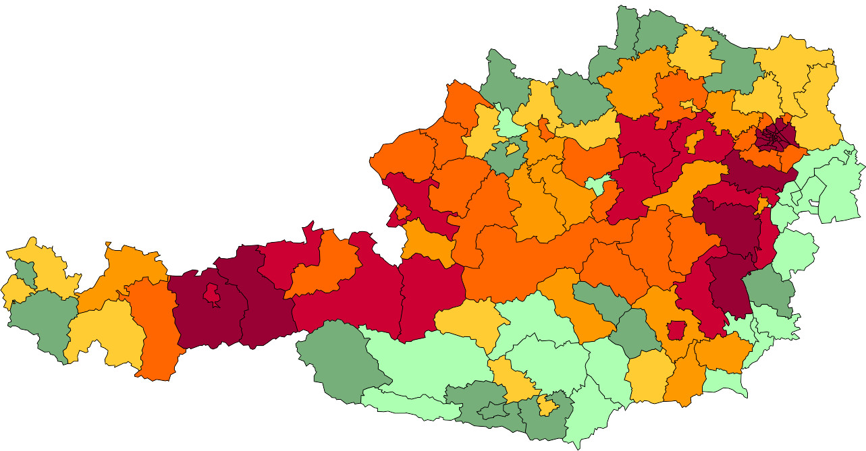 Absolute Verteilungskarten Nachnamen Lechner