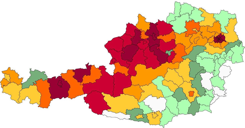 Absolute Verteilungskarten Nachnamen Mayr