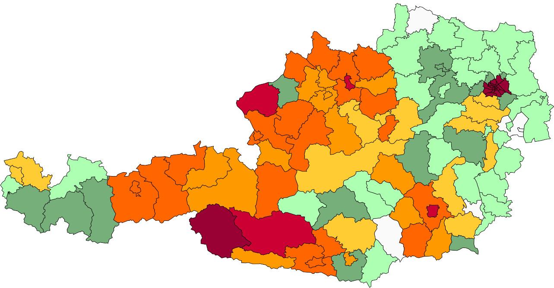 Absolute Verteilungskarten Nachnamen Ortner