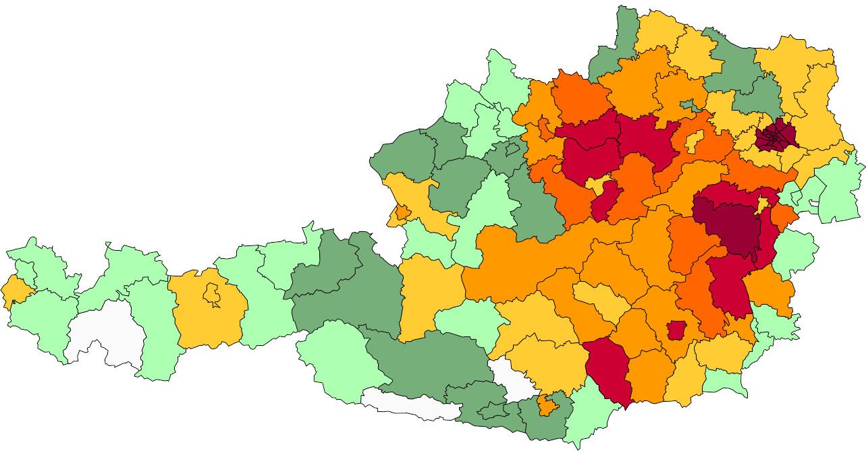 Absolute Verteilungskarten Nachnamen Riegler
