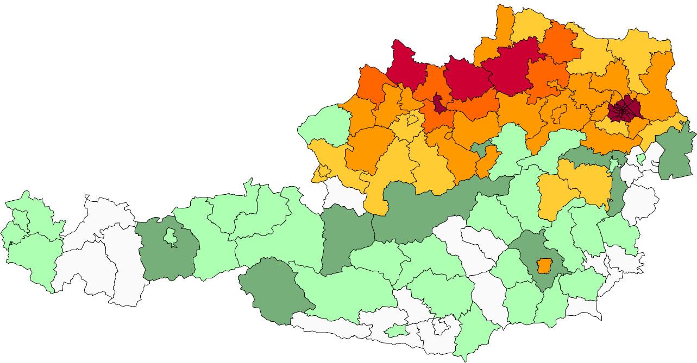 Absolute Verteilungskarten Nachnamen Steininger