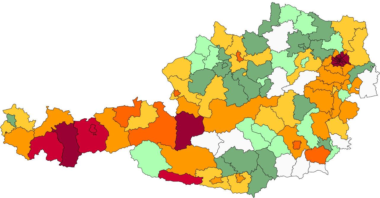Absolute Verteilungskarten Nachnamen Thurner
