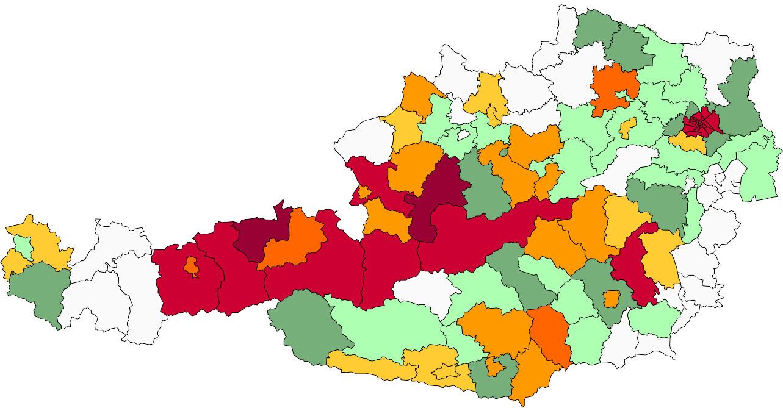 Absolute Verteilungskarten Nachnamen Unterberger