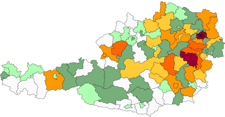 Absolute Verteilungskarten Nachnamen Weninger